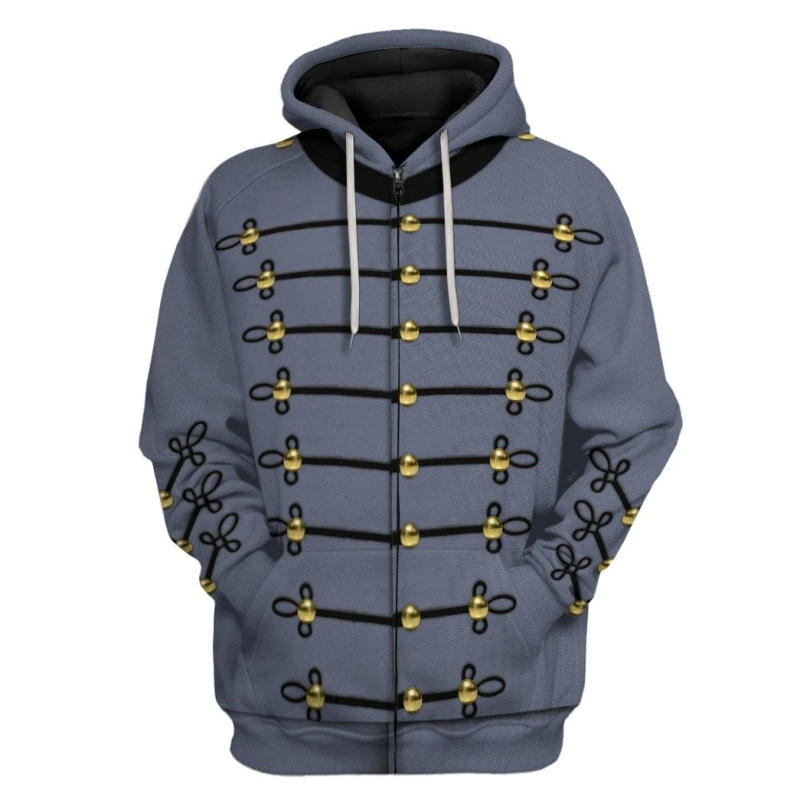 PLstar Cosmos 3d hoodies/Sweatshirt Cosplay American Civil War Military Uniform Winter Autumn Long sleeve streetwear Pullover