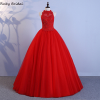 2020 Real Gorgeous Long Quinceanera Dresses Red Tulle Lace Beading Ball Gown Vestidos Quinceanera Prom Dresses Robe De Soiree