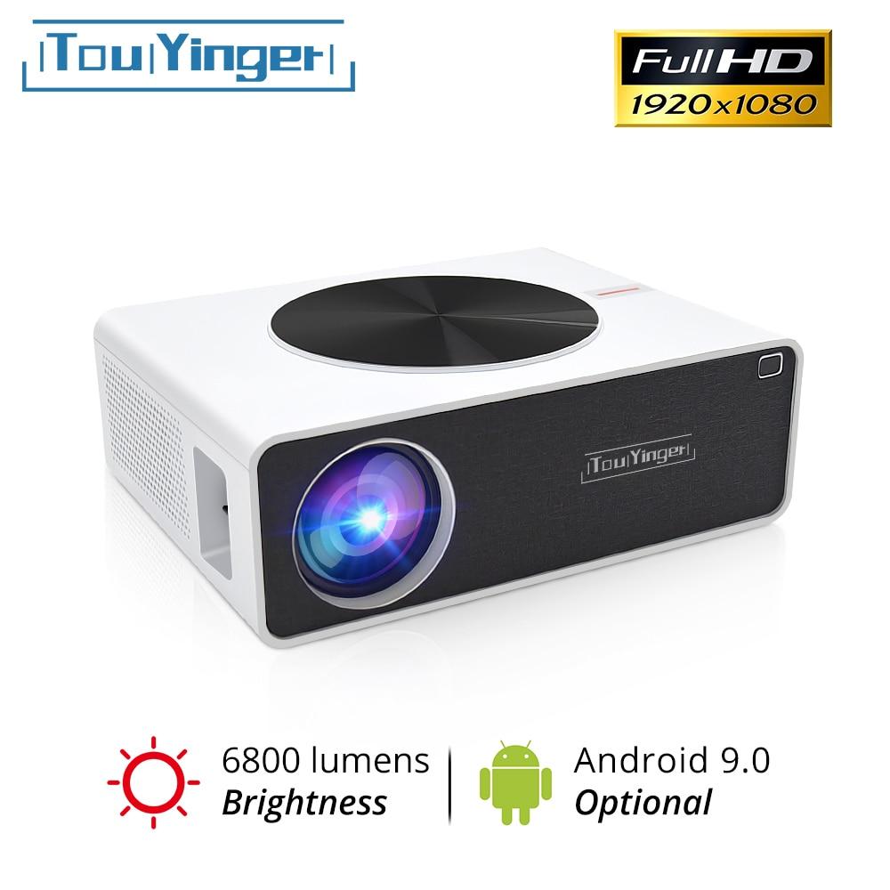 Touyinger q9 cinema em casa lcd projetor de vídeo 1080p completo hd 6800 lumens (android 9.0 wifi bluetooth opcional) led filme beamer