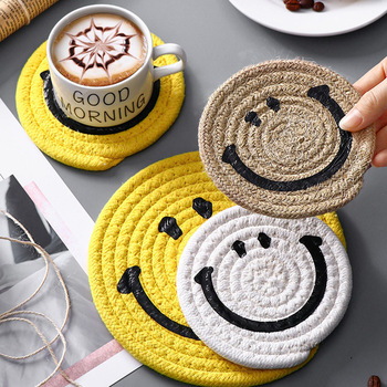 Round Cotton Thread Coaster Handmade Braid Mat Heat Resistant Cup Pad Smile Face Shape Non-slip Placemats Tablemat For Table 1