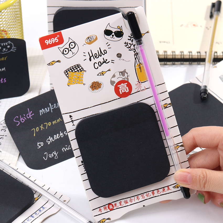 50 Sheets Black Paper Memo Pads Highlighter Pen Set Message Counting N Times Sticky Paper Plan Student Stationery