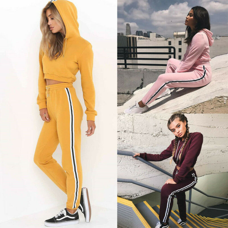 Tracksuit 2pcs Women Set Hoodies Crop Top Sweatshirt+Side Stripe Pants Hooded 2 Pieces Sets Women Autumn Clothing Suits Female