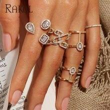 RAKOL Luxus Geometrische Zirkonia Offene Ringe für Frauen Mode Jahrestag Beste Geburtstag Party Kleid Trendy Schmuck RR20108