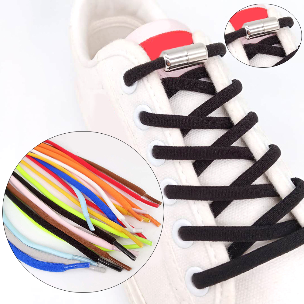 1Pair No Tie Shoelaces Round Elastic Shoe Laces For Kids And Adult Sneakers Shoelace Quick Lazy Laces 11 Color Shoestrings