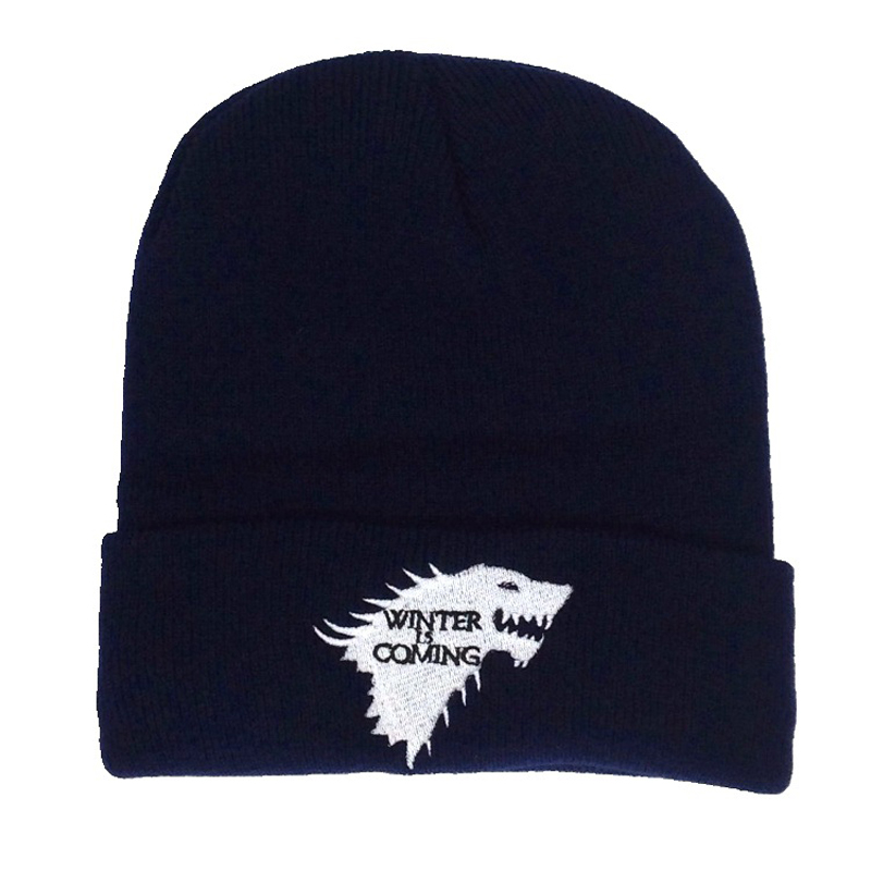 Winter Is Coming Wolf Embroidery Beanie Hats Unisex Cool Black Warm Ski Hat Outdoor Hip Hop Hats Women Men Knit Skullies Bonnet