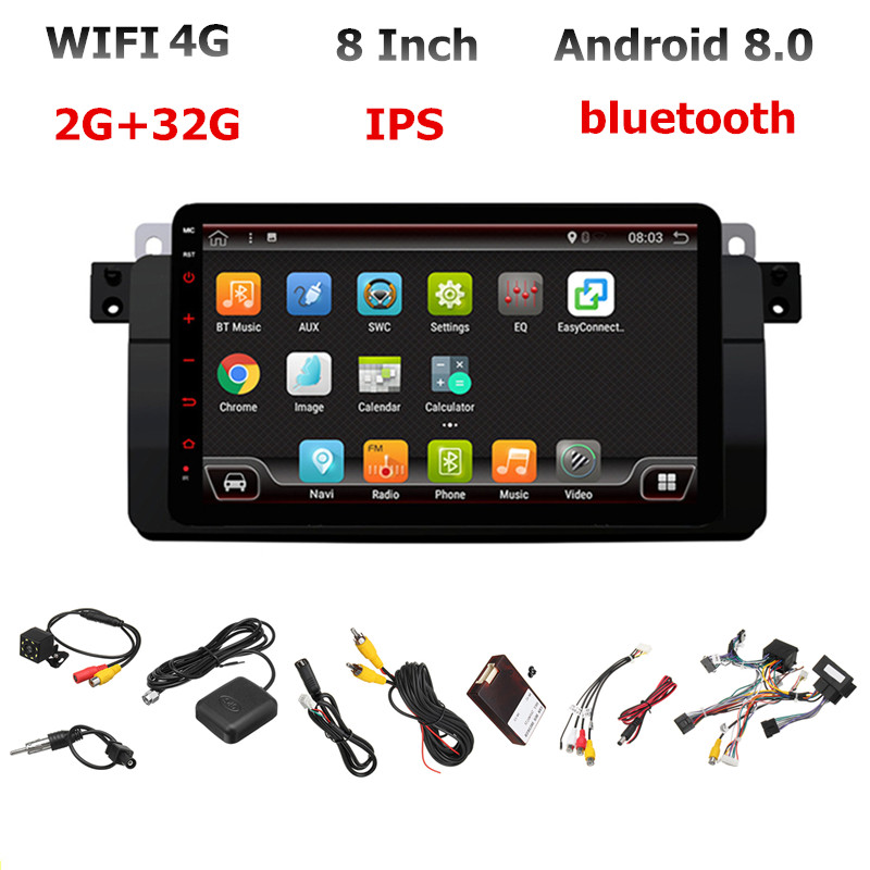 8 Android 8.0 2+32G Car Stereo Radio WIFI 4G GPS Navigation 4 Core 1 DIN IPS MP5 DVD Player bluetooth RDS for BMW E46 image