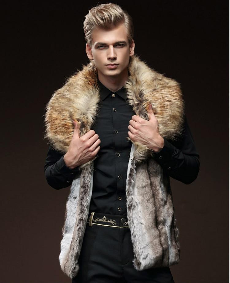 【送料無料】新ファッション男性男性の毛皮冬の自己栽培ベスト模造ウサギの毛皮の毛大毛の襟肥厚    グループ上の メンズ服 からの ベスト