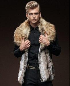 Image 1 - 무료 배송 새로운 패션 남성 남성 모피 겨울 자기 재배 조끼 모조 토끼 모피 머리 대형 머리 칼라 짙어지면서