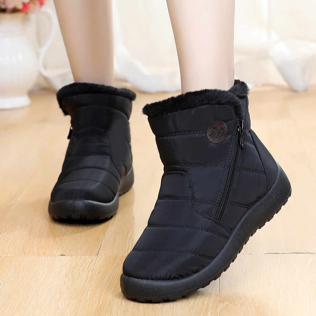 Snow Boots Women Plush Warm Ankle Boots For Women Winter Boots Waterproof Ladies Boots Female Winter Shoes Zip Flat Booties