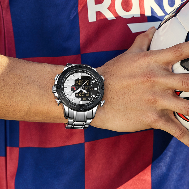 KADEMAN nowa piłka nożna Inspire Sport zegarek luksusowa moda męska stalowe zegarki TOP marka podwójny ruch LCD zegarek męski Relogio 6