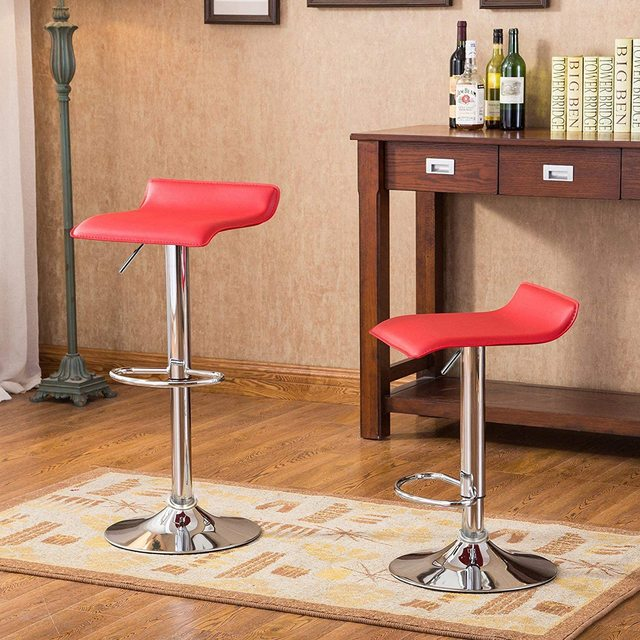 Set of 2 Modern Bar Chairs Dining Room Chairs Adjustable Swivel Bar Stools Kitchen Counter Dining Chairs for Home Office Salon 2