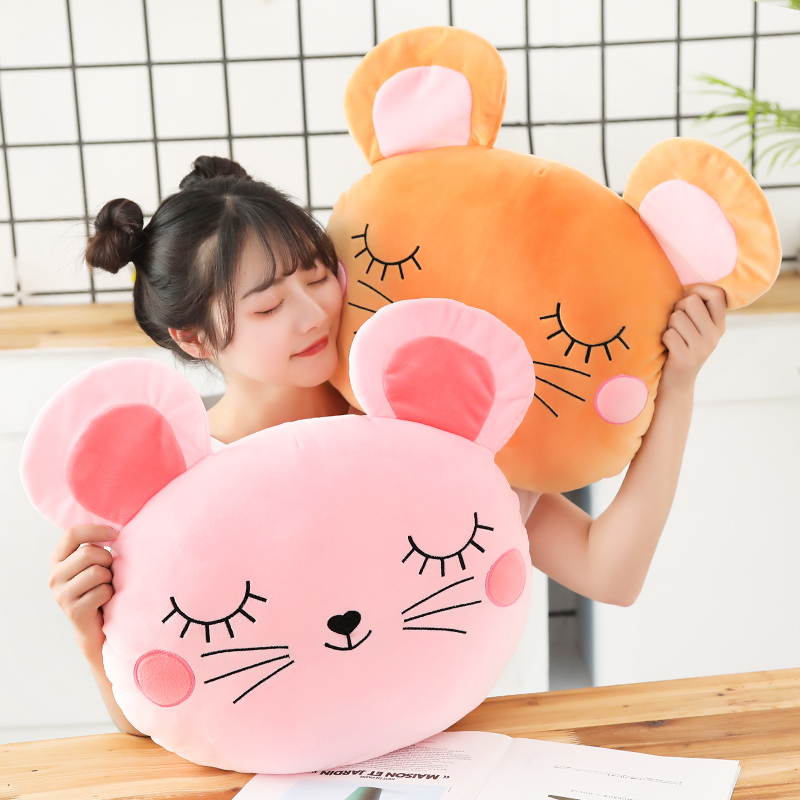 1PC 45x40cm Cute Hamster Mouse Plush Pillow Stuffed Soft Animal Hamtaro Toys Dolls Kawaii Christmas Gift for Girls Kids Children  - buy with discount