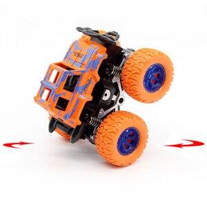 Image 5 - الأزرق طفل الجمود سيارة لعب صغيرة شاحنة الأطفال التراجع لعب المركبات الاحتكاك بالطاقة نموذج عجلات كبيرة