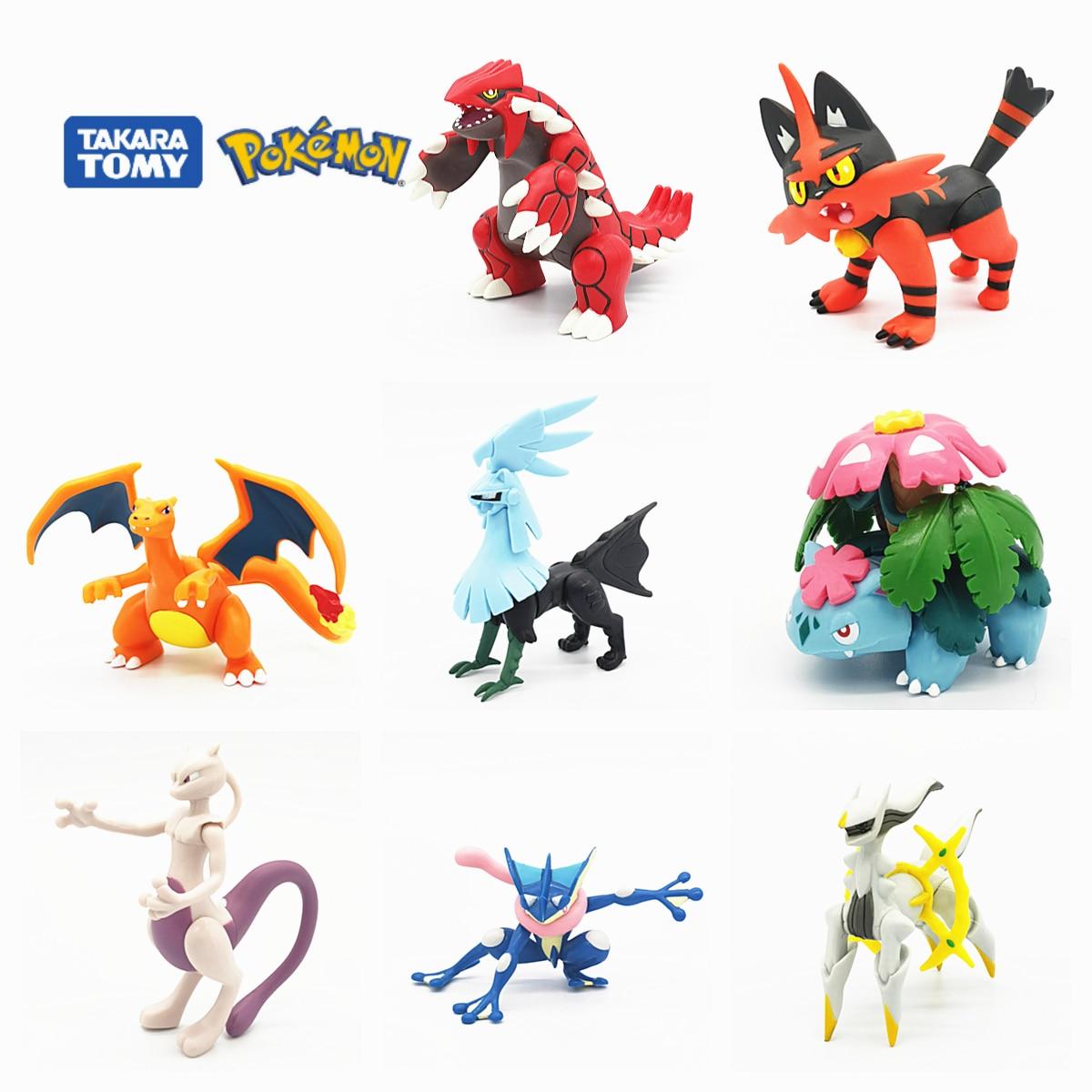 Tomy pokemon anime deus besta grande robô móvel figura brinquedo 6-13 cm charizard greninja solgaleo arceus groudon decoração presente