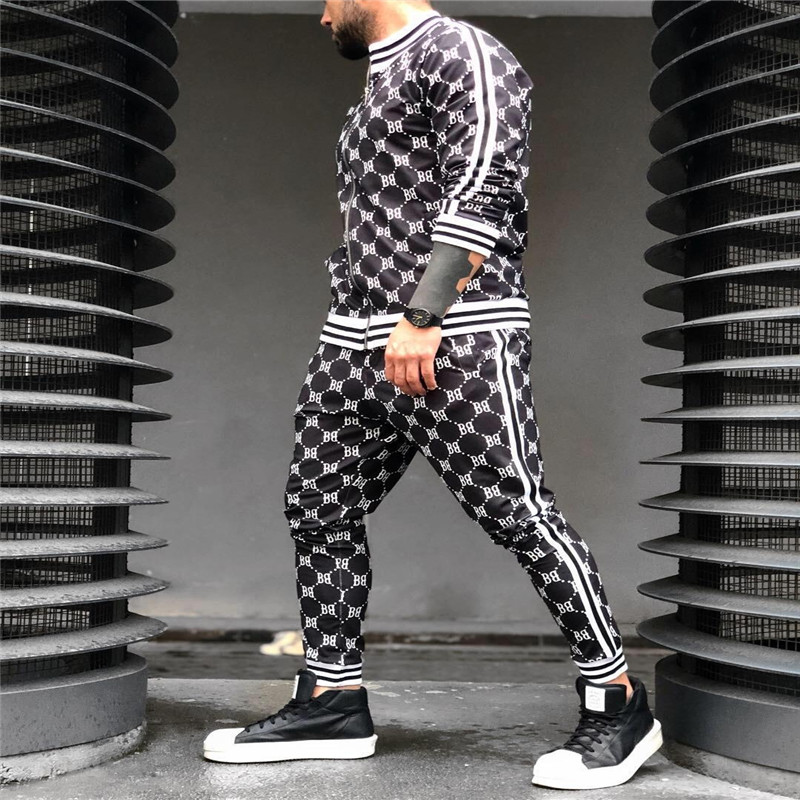 2019 New Printed Men Set Colorful Plaid Men Casual Zipper Set Autumn Spring Sporting Tracksuit Set Male Sweatshirt Multi-pocket Fashion Jackets Men Tracksuit Sets Men 2 Pcs Tracksuit Sportswear  Sweatshirt Pants Suit