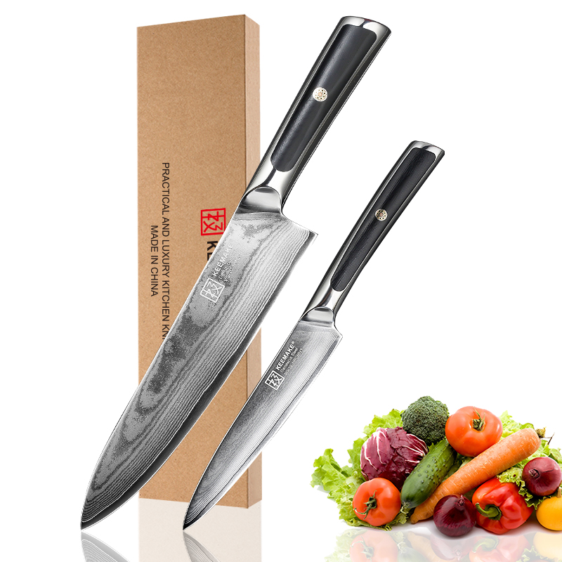 KEEMAKE High Quality Chef Utility Knife Damascus Japanese VG10 Core Steel Blade Cutter Tools G10 Handle 2pcs Kitchen Knives Set