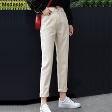 Cargo Pants Jeans Woman 2019 Autumn Casual Loose High Waist