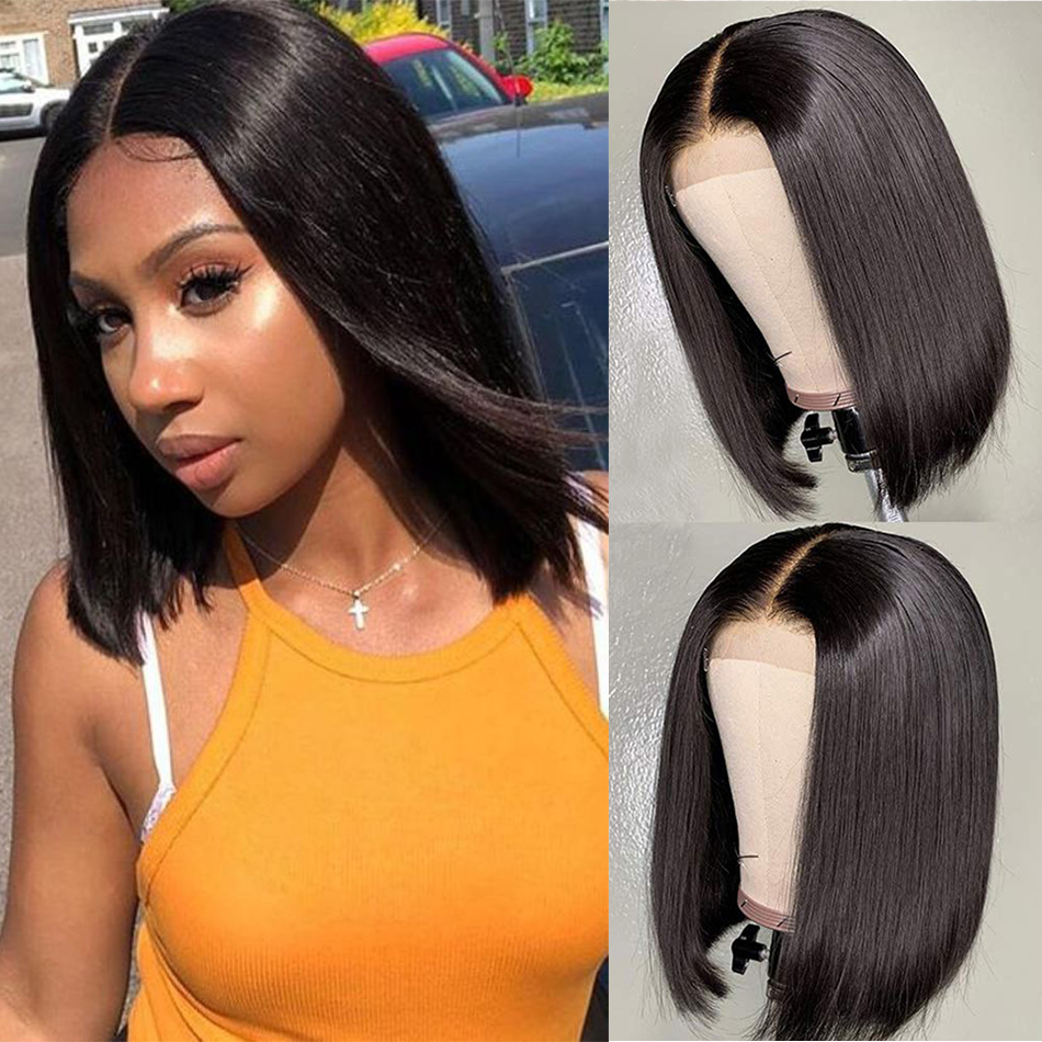 Cheap 4x4 Lace Closure Wigs Blunt Cut Bob Wig Peruvian Straight Hair Lace Closure Wigs For Black Woman Remy Human Hair Low Ratio