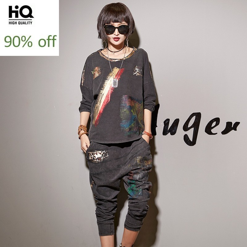 Fashion Womens Tracksuit 2020 Spring Autumn Casual Hot Sale Female Sets Streetwear Pullover Clothing Woman Harem Jean Pant Suit
