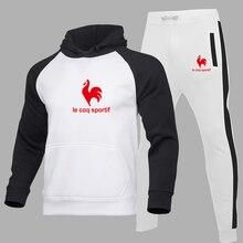 Outono/inverno novo moletom com capuz + calças 2pcs pulôver com capuz terno do esporte dos homens mais veludo solto