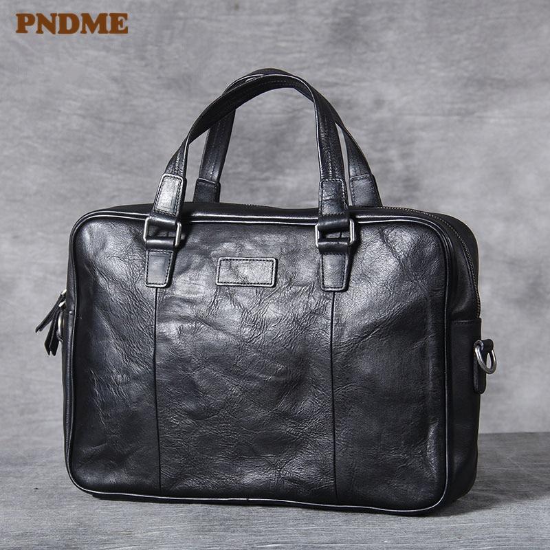 PNDME Simple Vintage Soft Genuine Leather Men's Briefcase Business Casual High Quality Cowhide Handbag Black Laptop Shoulder Bag