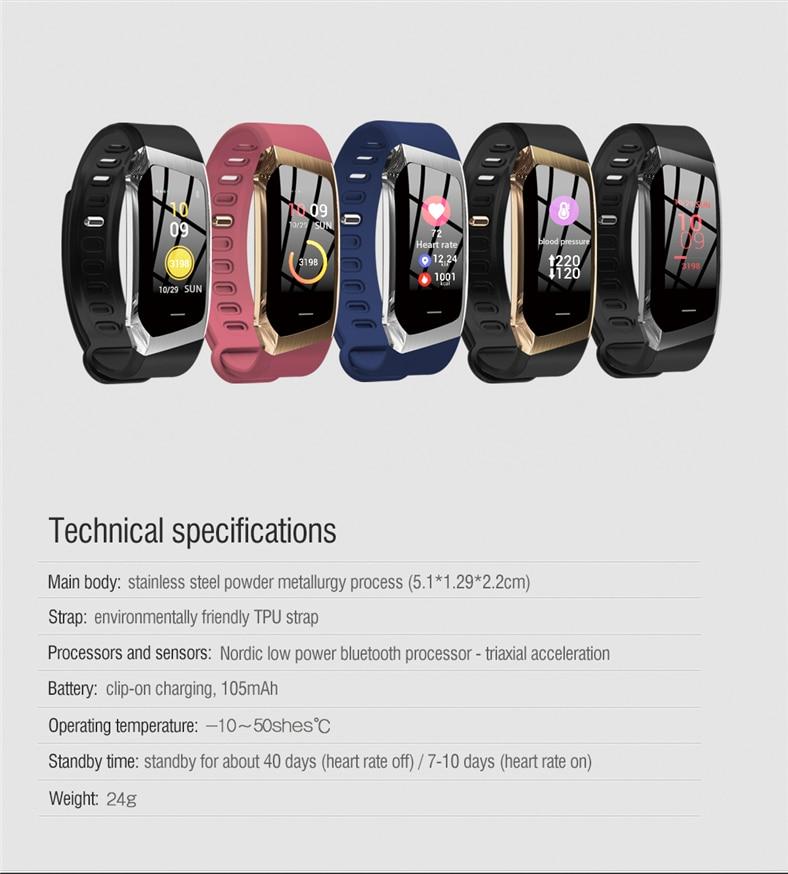 Hac8fc42b5f6a4b0d99b24259816b05a05 E18 Smart Bracelet Blood Pressure Heart Rate Monitor Fitness Activity Tracker smart watch Waterproof Men Women Sport wrist band
