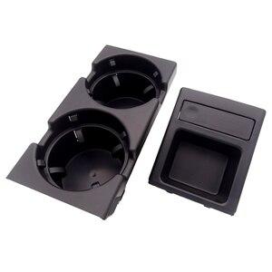 Image 4 - Para bmw e46 3 séries 1999 2006 preto, dupla buraco, veículo, frente, console, caixa de armazenamento moeda + suporte de copo da bebida 51168217957