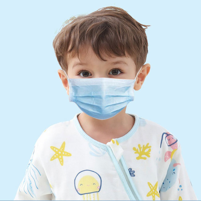 50pcs 3-13 Years Old Children's 3 Layers Face Mask Kid Non-woven PP Face Anti-bacterial Anti-flu Disposable Cartoon Printed Mask 2
