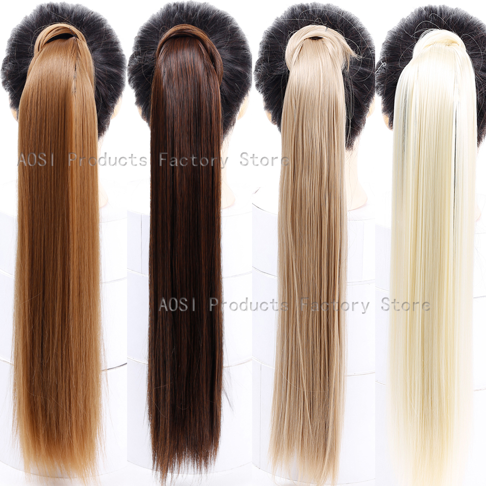 """Straight Clip In Hair Tail False Hair 24"""" 120g Ponytail Hairpiece With Hairpins Synthetic Hair Pony Tail Hair Extensions AOSIWIG"""
