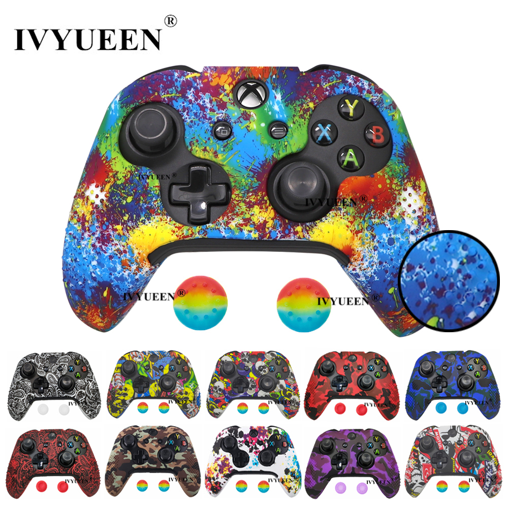 IVYUEEN 15 Colors Silicone Cover For Microsoft Xbox One X S Slim Controller Protective Case Skin With Analog Thumb Stick Grip