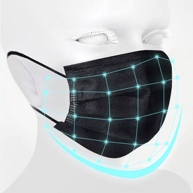 10/50/100 Pcs Mouth Mask Disposable Black Cotton Mouth Face Masks Non-woven Mask  3 Filter Activated Anti Pollution 2