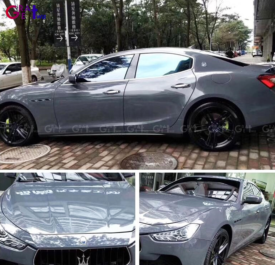Low Tack Super Gloss Cement Grey Vinyl Wrap Film With 3 Layer Gloss Nardo Gray Car Wrap Sticker Size 1.52*20M/Roll