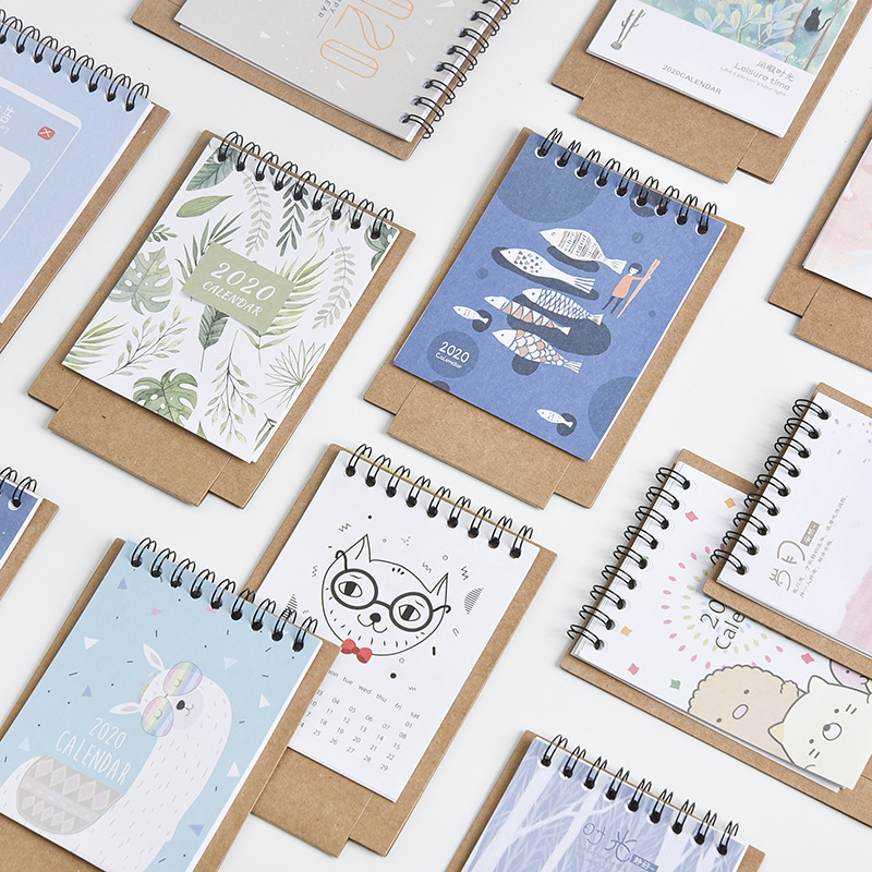 2020 New Fresh Cartoon Mini Flamingo Desktop Paper Calendar Dual Daily Schedule Table Planner Agenda Desk Calendar