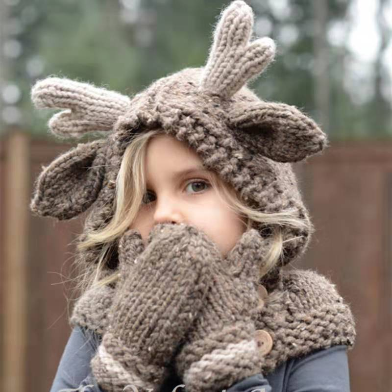 Children's Infant Winter Warm Scarf Hat Gloves Set Baby Outdoor Knit Hat Scarf Wool Beanies Cute Girl's Hoodie Hats Mufflers