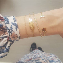 4 Pcs/Set Fashion Moon Round Leaf Crystal Opening Gold Bracelet Women Exquisite Multilayer Party Lover Gift Accessories