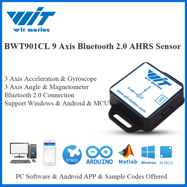 WitMotion Bluetooth 2.0 9 Axis Sensor Multconnected BWT901CL Inclination Angle + Acceleration + Gyro + Compass on PC/Android/MCU