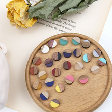 DIY Handmade Jewelry Accessories Individual Stitching Coloured Wood and Resin Patch Earring Necklace Bracelet Material