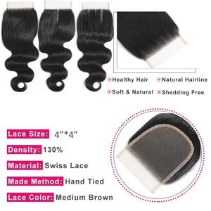 Image 5 - LINKELIN saç demetleri ile kapatma vücut dalga İnsan saç paketler kapatma ile malezya vücut dalga saç örgü demetleri ile kapatma