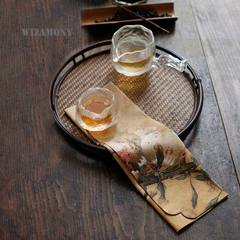 WIZAMONY Low Price Superfine Fiber Tea Towels Tea Set Absorbent Strong Kung Fu High-grade Tea Cloth Tools Tea Napkins