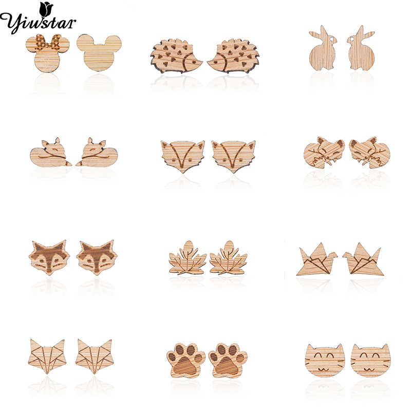 Yiustar Tiny Punk Style Cute Wood Stud Earrings Mickey for Women Girls Kids Small Animal Ear Earings pendientes Cartoon Jewelry