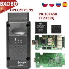 Versão mais recente opcom v1.99 v1.95 v1.70 firmware pic18f458 & ftdi chip verde preto pcb para opel/g m novo nec relé op com scanner