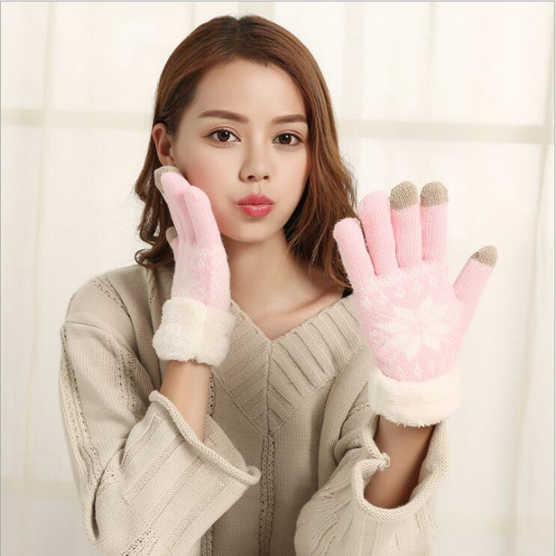 Lingwave New Winter Ladies Gloves Touch Screen Snowflake Pattern Gloves Knitted Thicken Warm Full Finger Soft Stretch Mittens