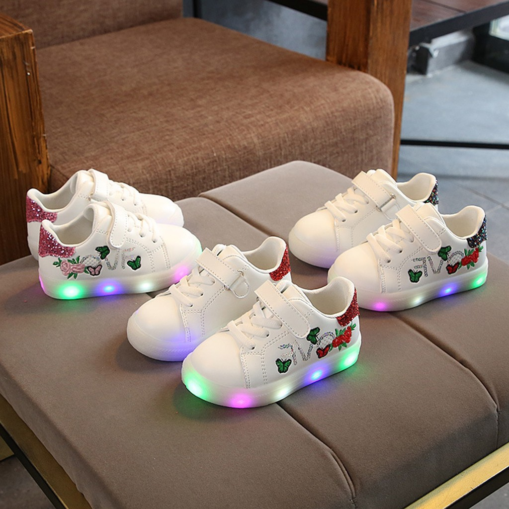 2New Fashion Children Baby Girls Boys Lighted Sport Shoes Squeins Flower Butterfly Led Light Luminous Sport Shoes 25
