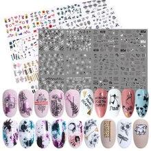 36pcs Fiore Lettera Autoadesivo Del Chiodo Decalcomanie Hollow Design di Trasferimento Dellacqua Sticker Manicure Wrap Decorazione Cursore Set LA974