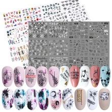 36pcs Flower Letter Nail Sticker Decals Hollow Design Water Transfer Sticker Manicure Wrap Decoration Slider Set LA974