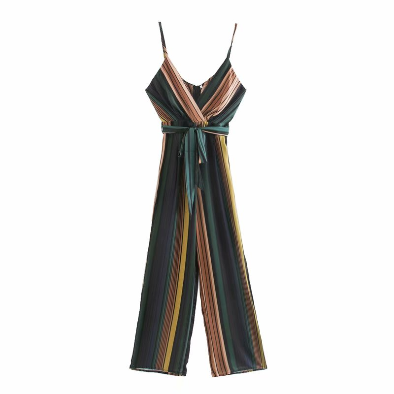 New 2020 Women Vintage Colorful Striped Printing Sling Rompers Female Spaghetti Strap Jumpsuits Casual Sashes Long Trousers P802
