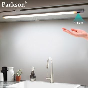 Ручной датчик развертки, светодиодная лампа под шкафом, 30, 40, 50 см, DC, 12 В, умный светодиодный шкаф, кухонный светильник, домашнее освещение, сп...