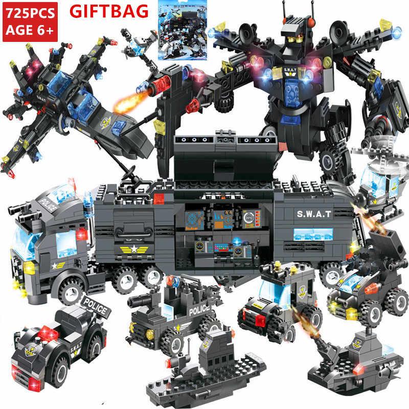 8 sztuk/partia miasta SWAT policja generałów wojny samochód robot Building Blocks ustawia helikopter DIY LegoINGs cegły Playmobil zabawki dla dzieci