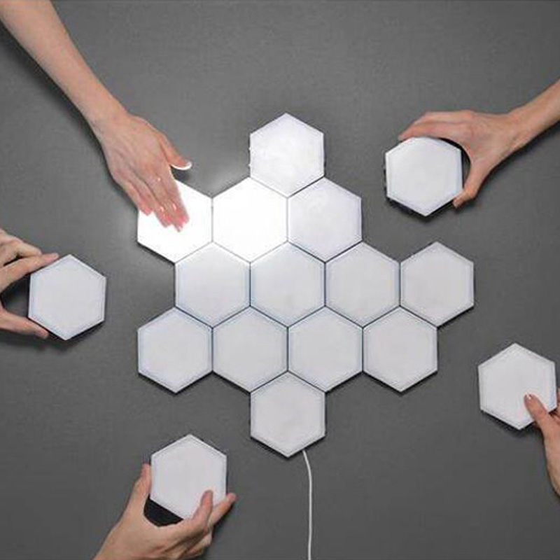 EU US UK Touch Wall Lamp Creative Honeycomb Modular Assembly Helios Quantum Lamp LED Magnetic Decoration Bedroom Wall Sconce