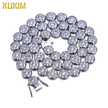 JBL001 Xukim Jewelry 20 inch 24inch Silver Color Cubic Zirconia Iced Out Hip Hop Fashion Tennis Necklace Jewelry xukim jewelry full iced out prong setting aaa cubic zirconia silver color 8mm squire cuban chain necklace hip hop rapper jewelry